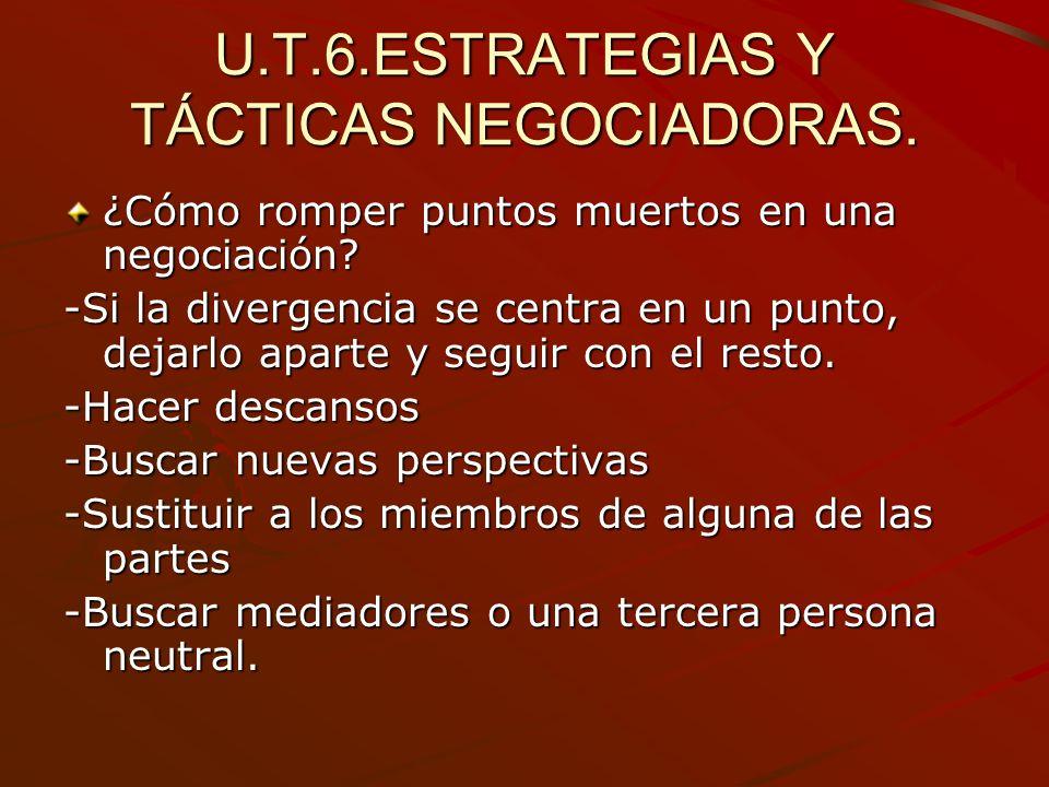 U.T.6.ESTRATEGIAS Y TÁCTICAS NEGOCIADORAS.