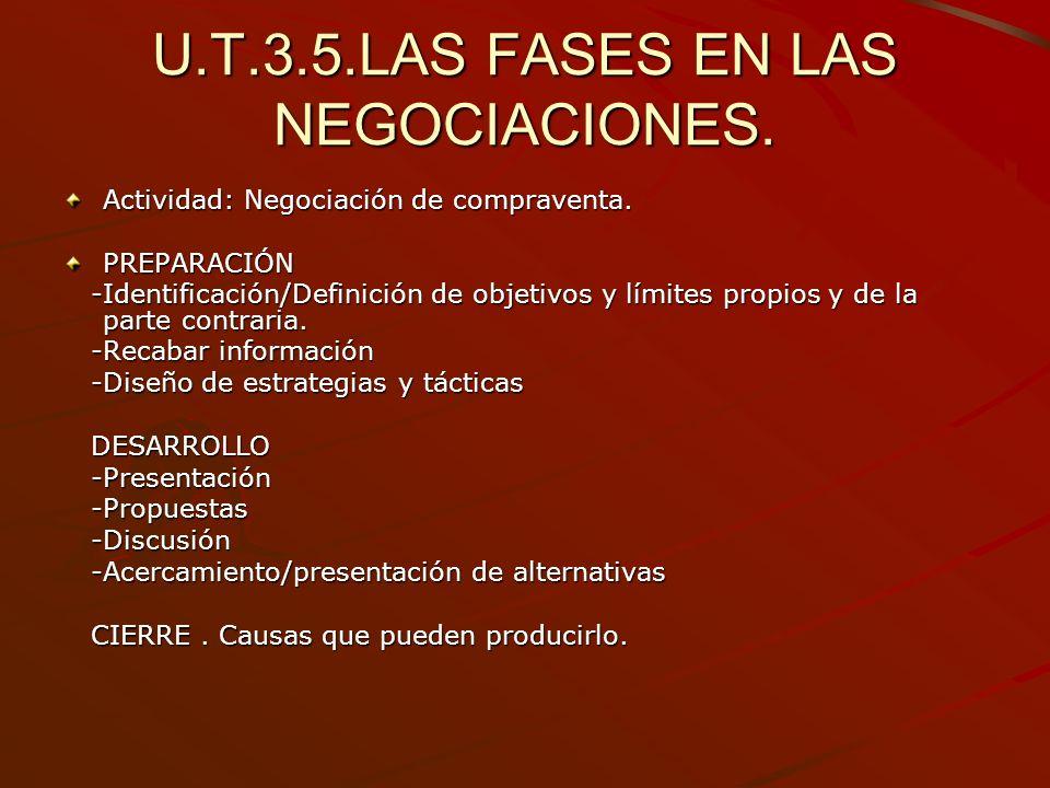 U.T.3.5.LAS FASES EN LAS NEGOCIACIONES.