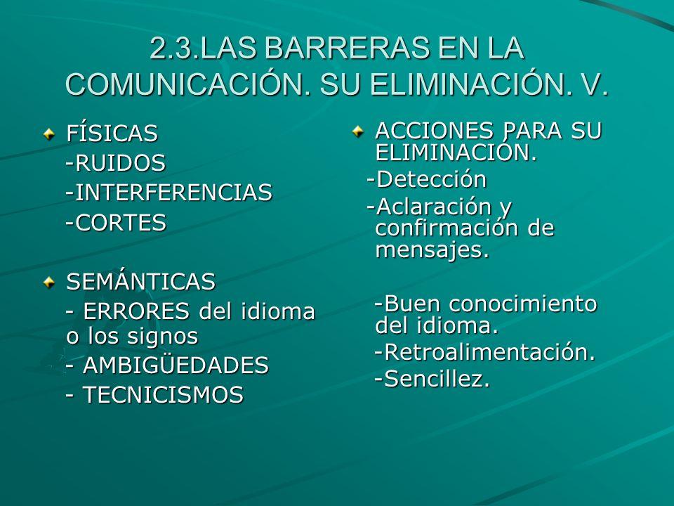 2.3.LAS BARRERAS EN LA COMUNICACIÓN. SU ELIMINACIÓN. V.
