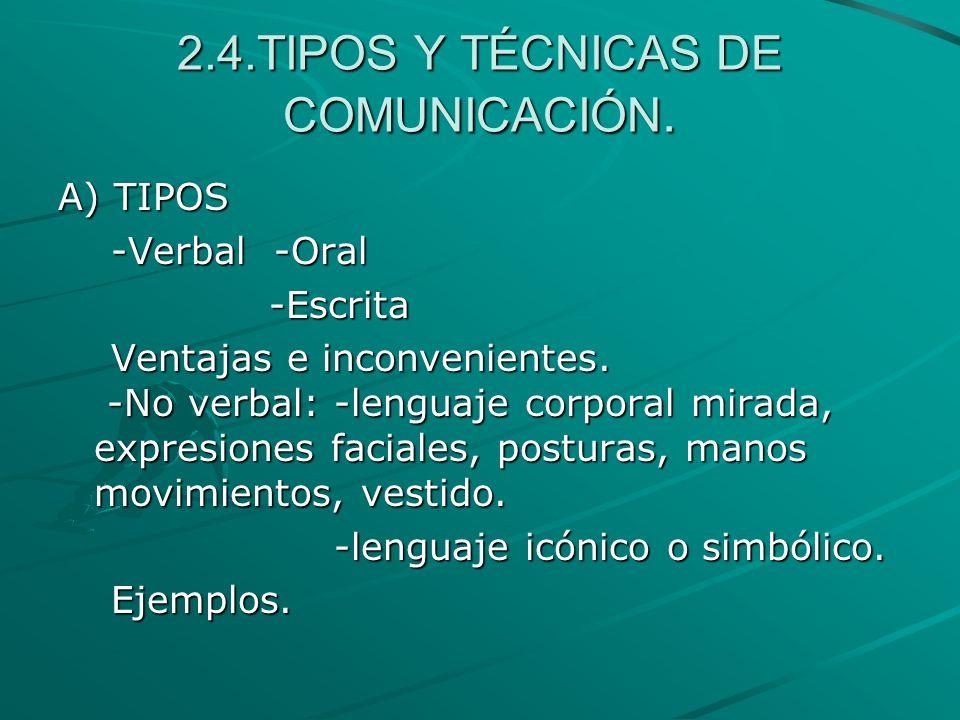 2.4.TIPOS Y TÉCNICAS DE COMUNICACIÓN.