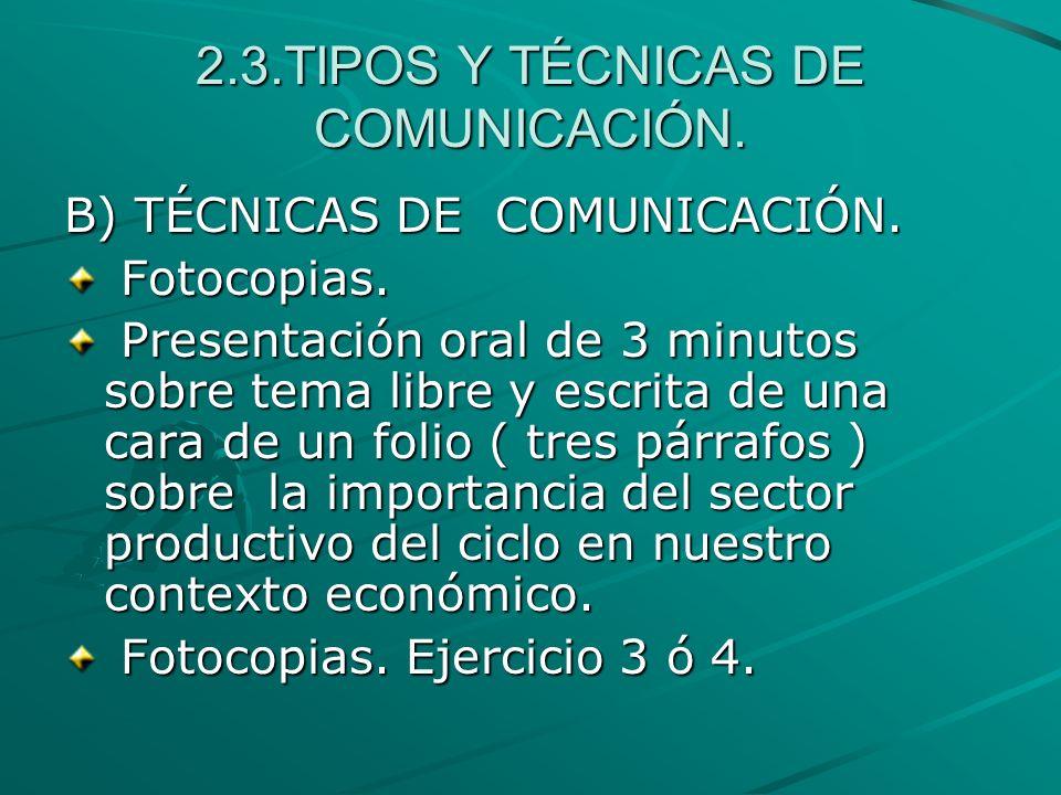 2.3.TIPOS Y TÉCNICAS DE COMUNICACIÓN.