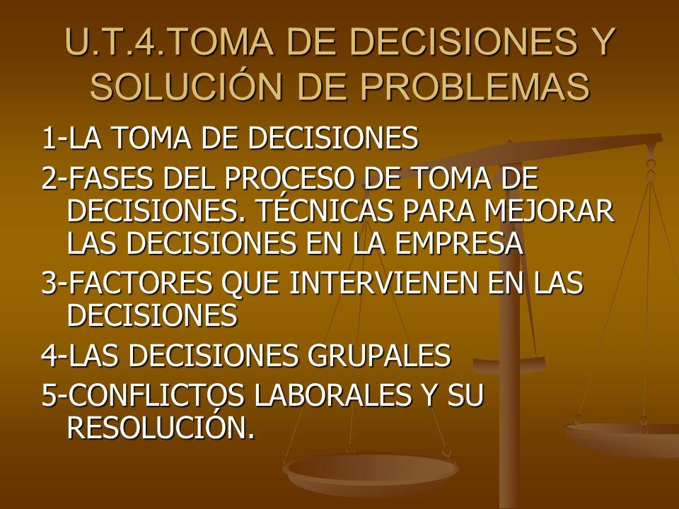 U.T.4.TOMA DE DECISIONES Y SOLUCIÓN DE PROBLEMAS
