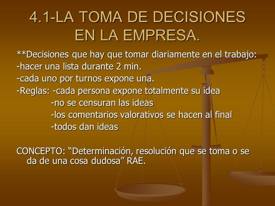 4.1-LA TOMA DE DECISIONES EN LA EMPRESA.