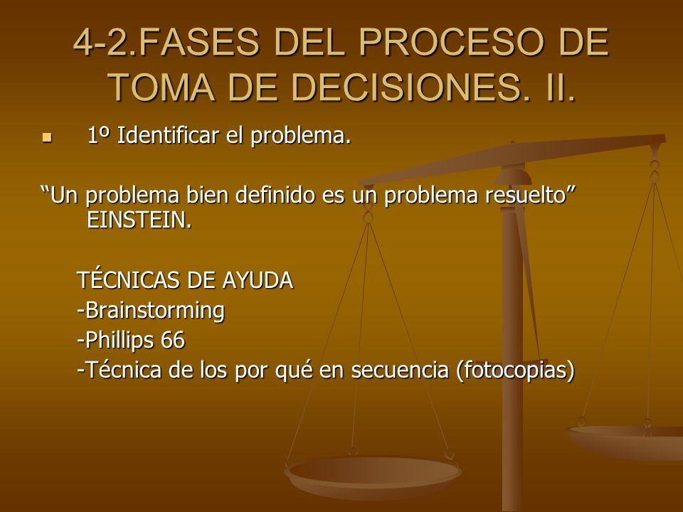 4-2.FASES DEL PROCESO DE TOMA DE DECISIONES. II.