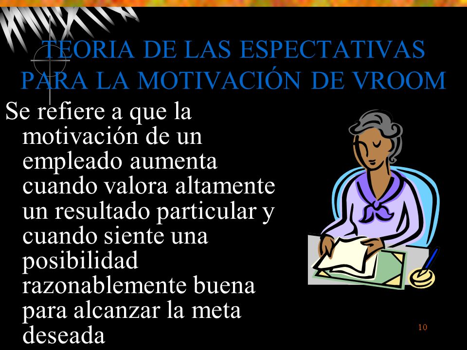 TEORIA DE LAS ESPECTATIVAS PARA LA MOTIVACIÓN DE VROOM
