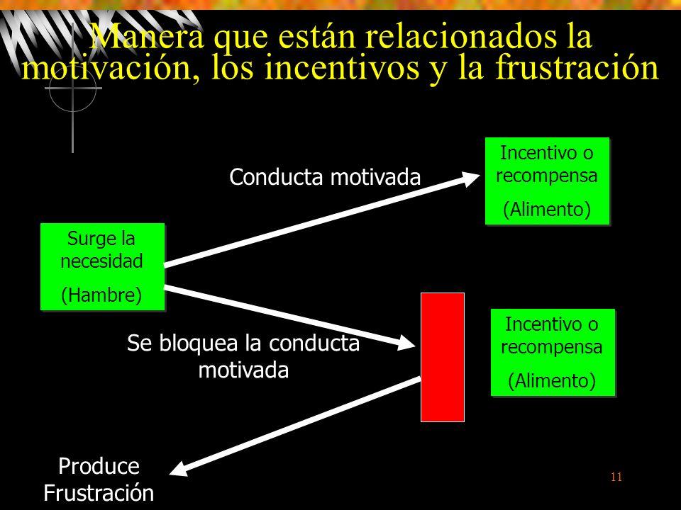 Manera que están relacionados la motivación, los incentivos y la frustración