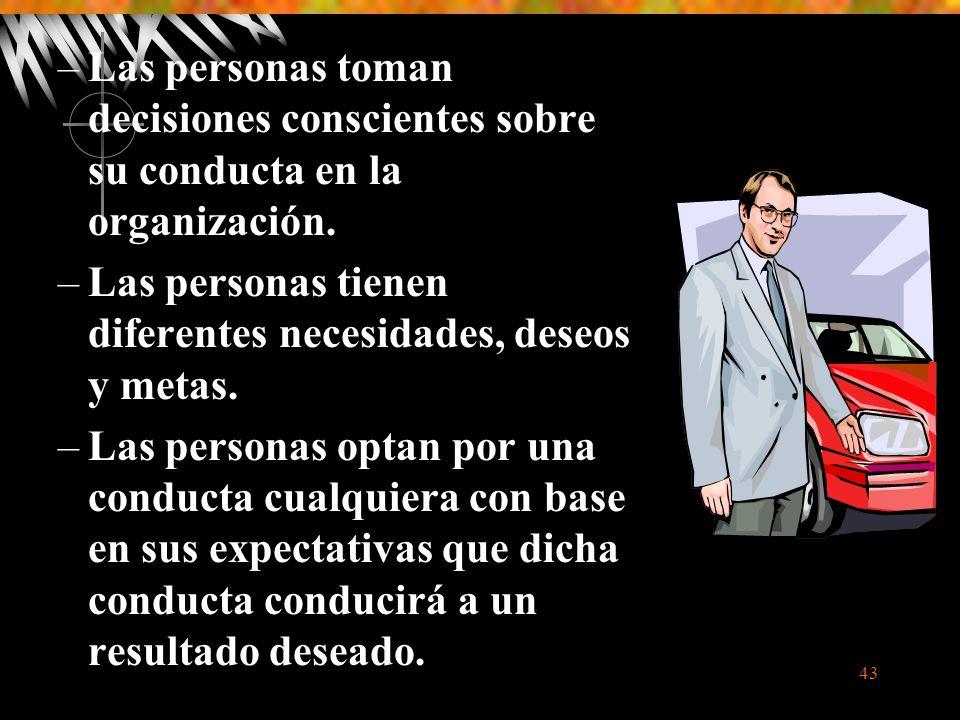 Las personas toman decisiones conscientes sobre su conducta en la organización.