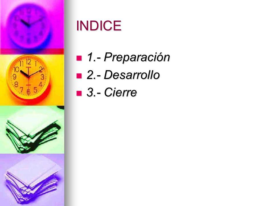 INDICE 1.- Preparación 2.- Desarrollo 3.- Cierre