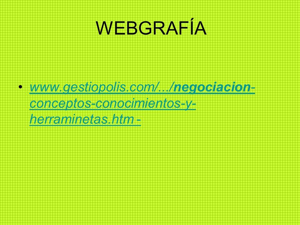 WEBGRAFÍA www.gestiopolis.com/.../negociacion-conceptos-conocimientos-y-herraminetas.htm -