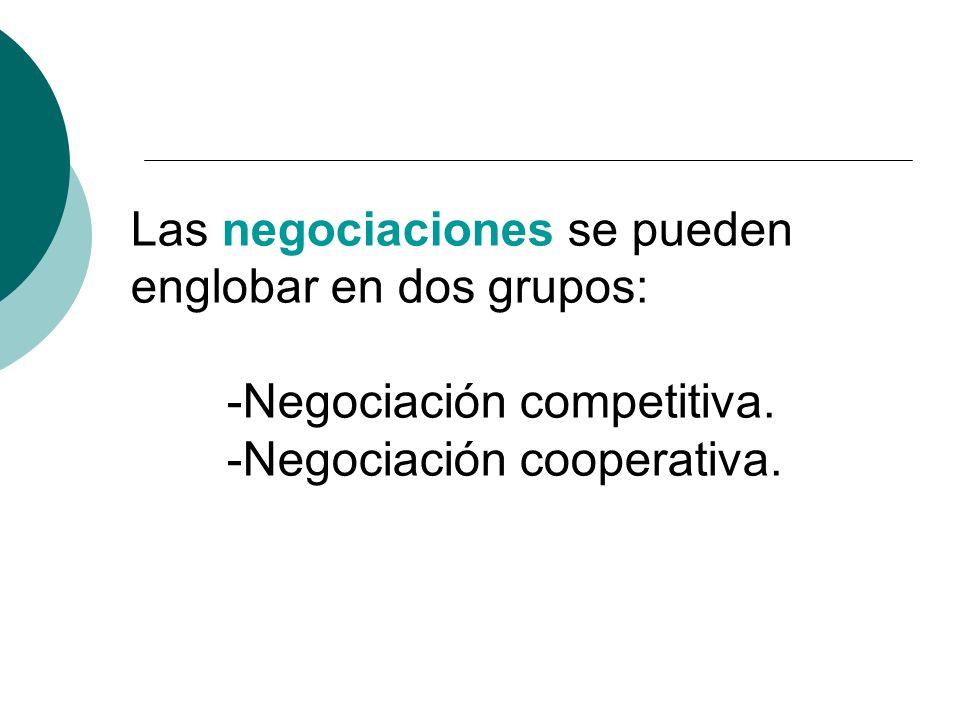 Las negociaciones se pueden englobar en dos grupos: