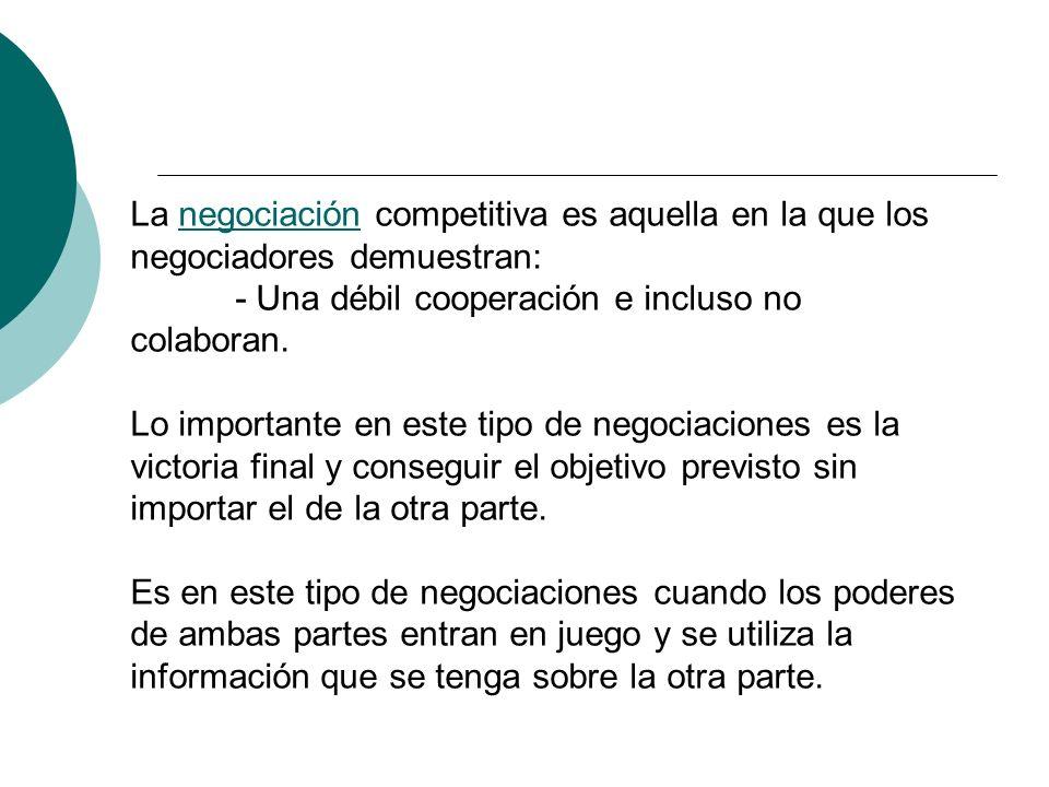 La negociación competitiva es aquella en la que los negociadores demuestran:
