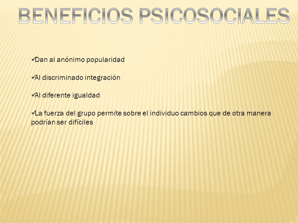 BENEFICIOS PSICOSOCIALES