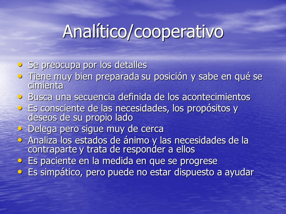 Analítico/cooperativo