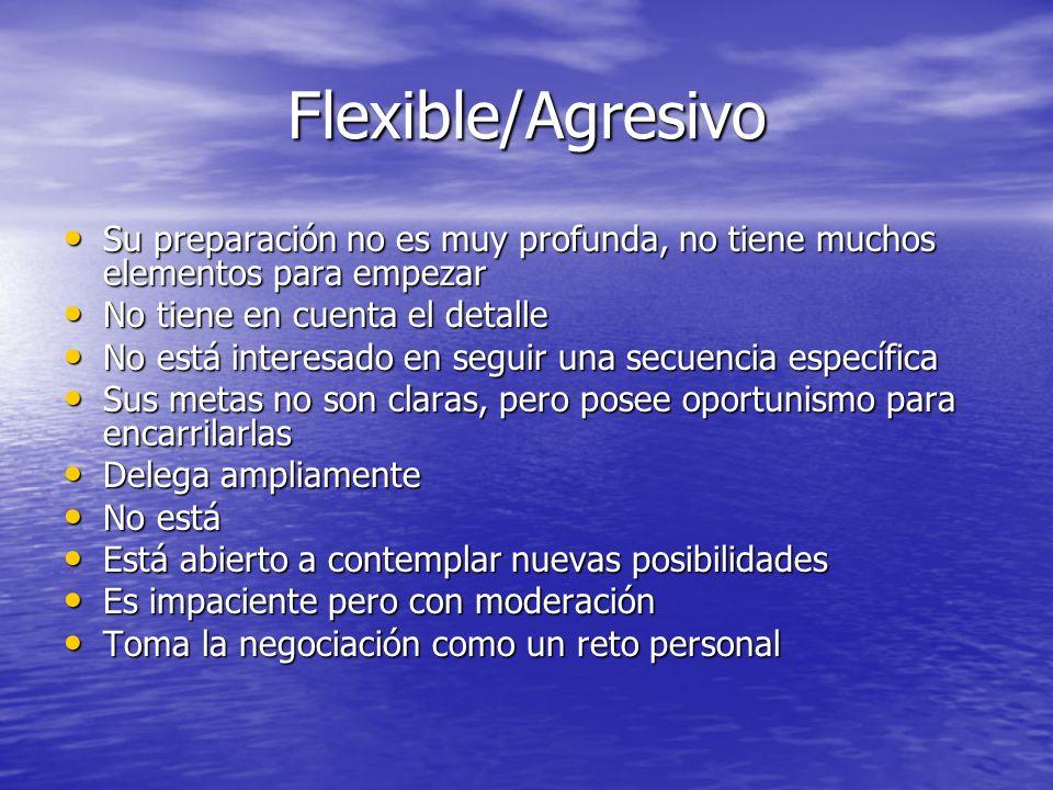 Flexible/Agresivo Su preparación no es muy profunda, no tiene muchos elementos para empezar. No tiene en cuenta el detalle.
