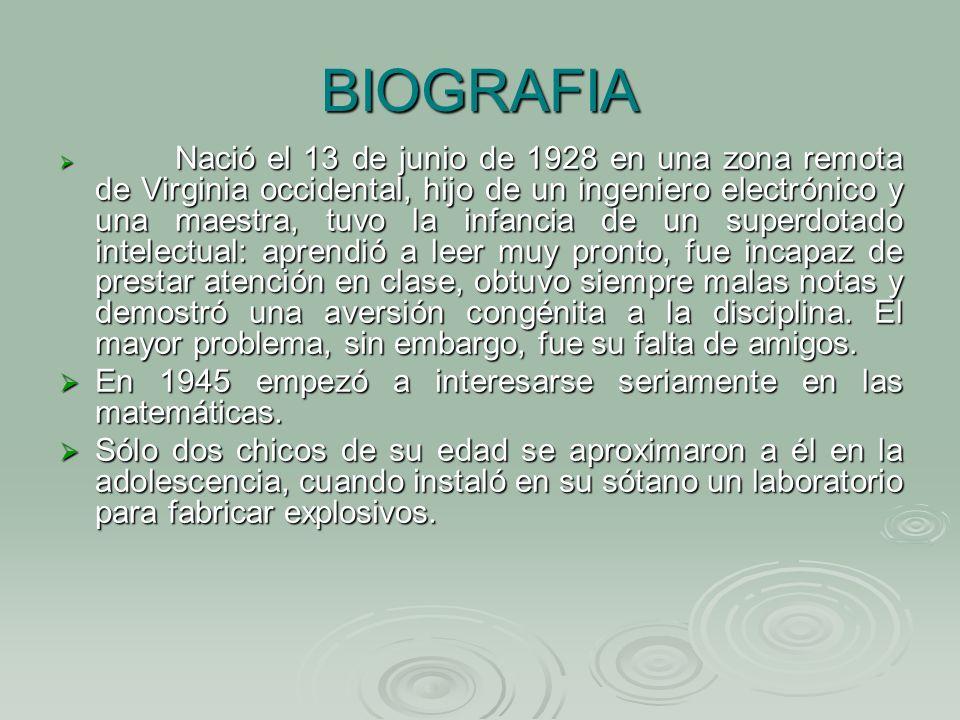 BIOGRAFIA En 1945 empezó a interesarse seriamente en las matemáticas.
