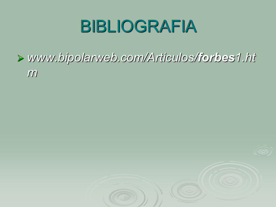 BIBLIOGRAFIA www.bipolarweb.com/Articulos/forbes1.htm