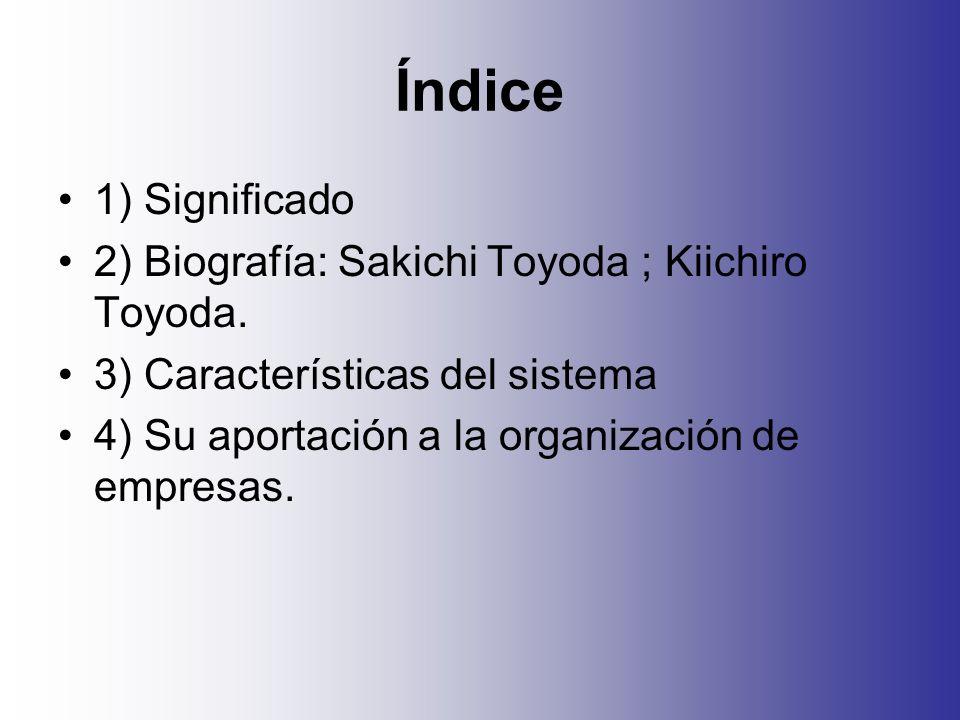 Índice 1) Significado 2) Biografía: Sakichi Toyoda ; Kiichiro Toyoda.