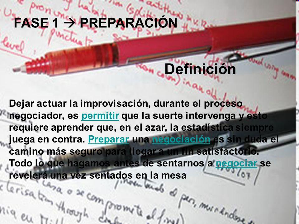 Definición FASE 1  PREPARACIÓN