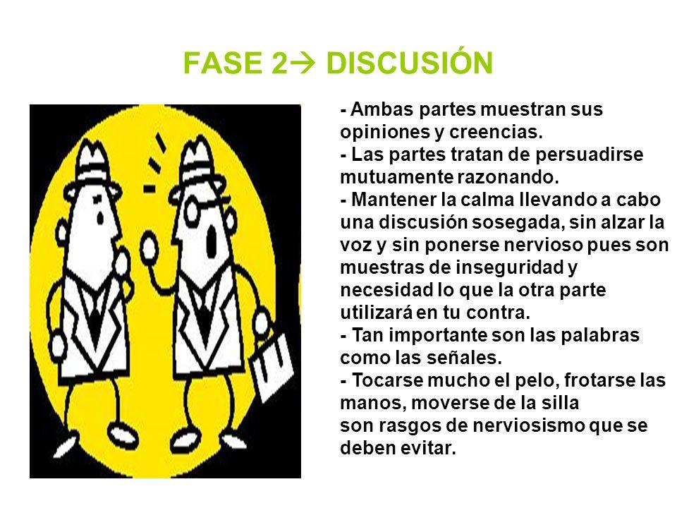 FASE 2 DISCUSIÓN - Ambas partes muestran sus opiniones y creencias.