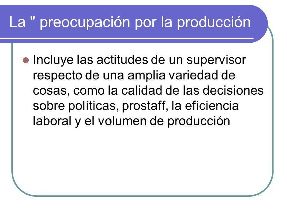 La preocupación por la producción