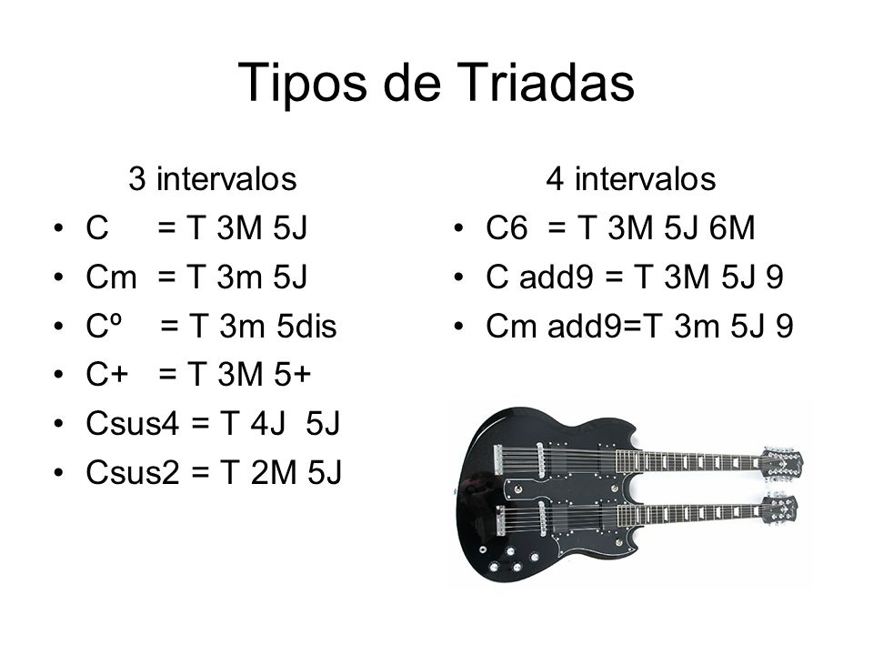 Tipos de Triadas 3 intervalos C = T 3M 5J Cm = T 3m 5J Cº = T 3m 5dis