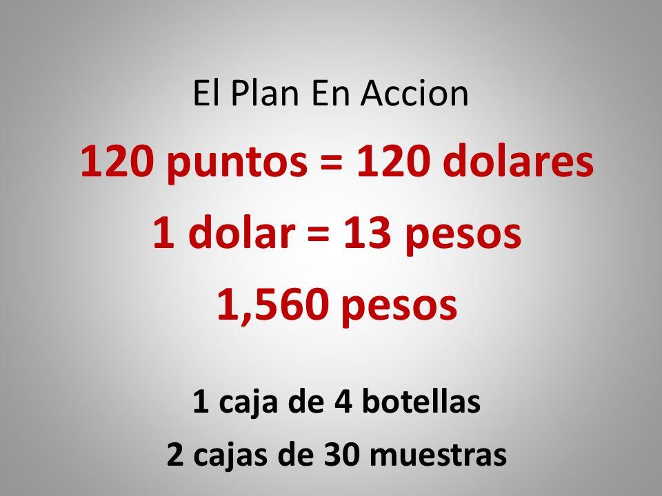 120 puntos = 120 dolares 1 dolar = 13 pesos 1,560 pesos
