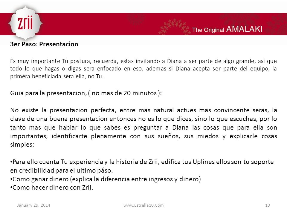 Guia para la presentacion, ( no mas de 20 minutos ):