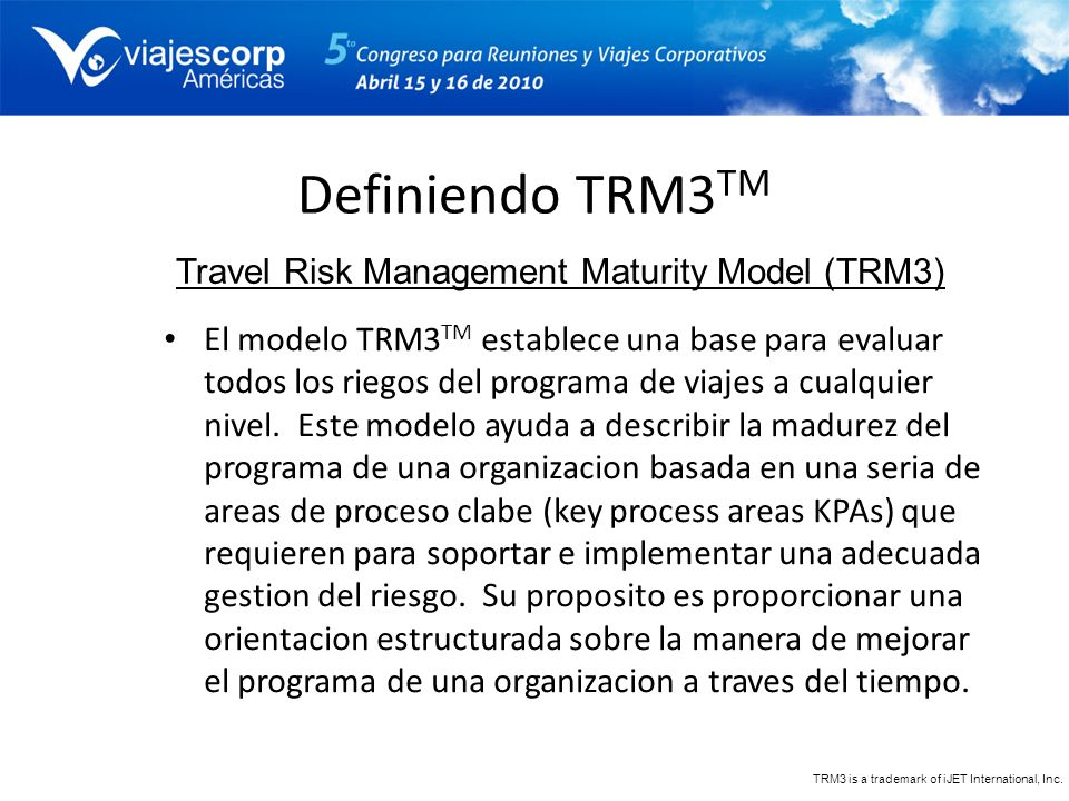 Travel Risk Management Maturity Model (TRM3)