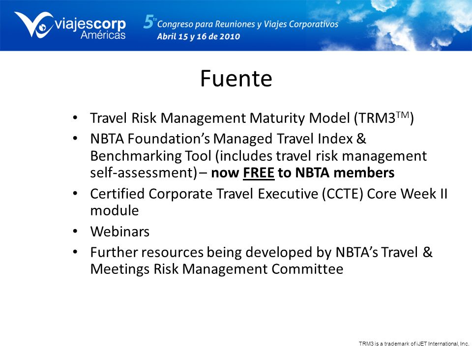 Fuente Travel Risk Management Maturity Model (TRM3TM)