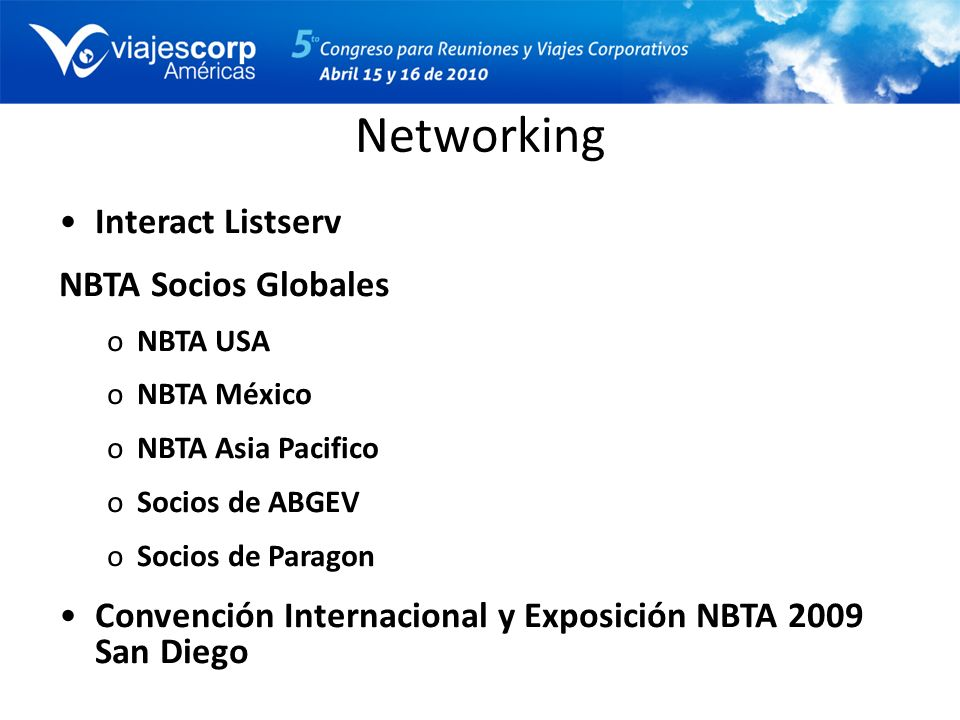 Networking Interact Listserv NBTA Socios Globales