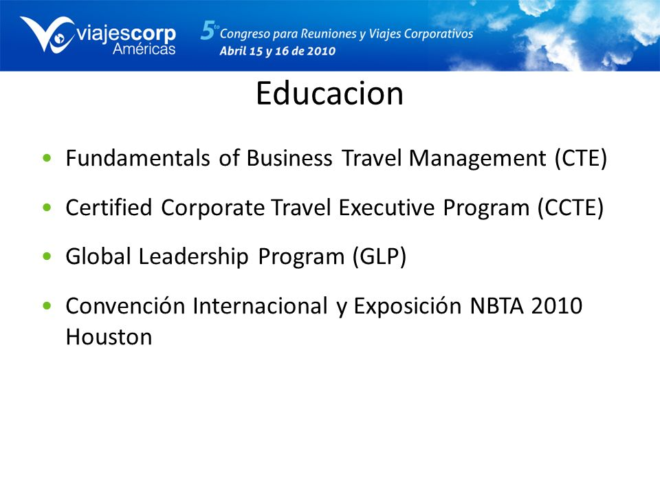 Educacion Fundamentals of Business Travel Management (CTE)
