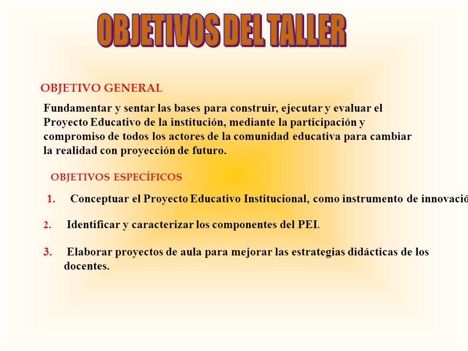 OBJETIVOS DEL TALLER OBJETIVO GENERAL