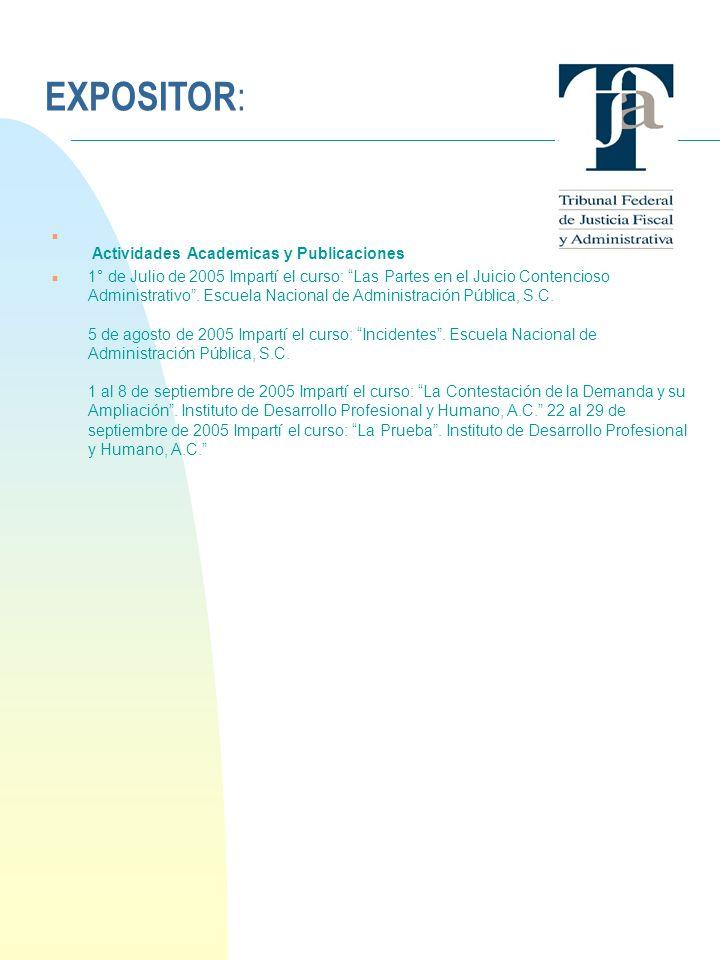EXPOSITOR: 24/03/2017 Actividades Academicas y Publicaciones