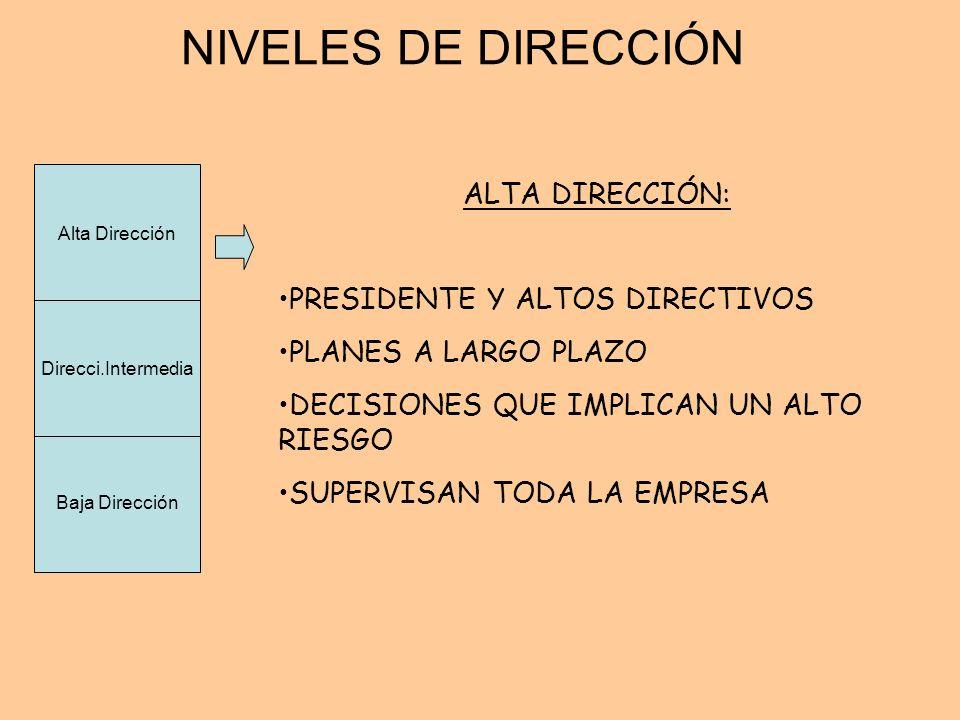 NIVELES DE DIRECCIÓN ALTA DIRECCIÓN: PRESIDENTE Y ALTOS DIRECTIVOS