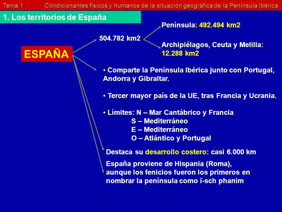 ESPAÑA 1. Los territorios de España Península: 492.494 km2 504.782 km2