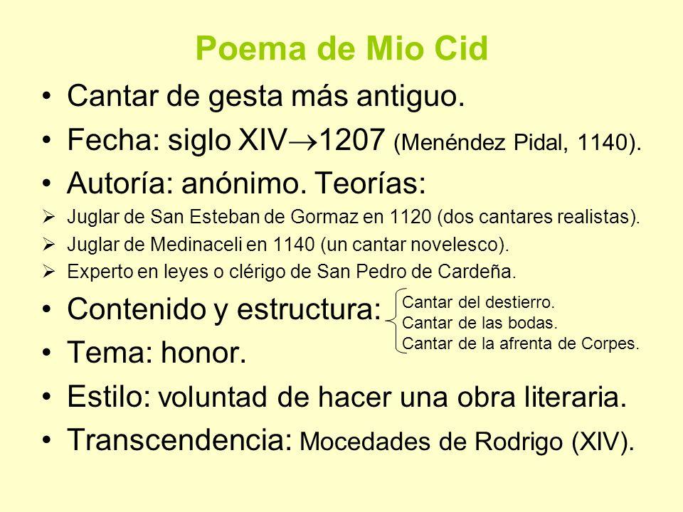 Poema de Mio Cid Cantar de gesta más antiguo.