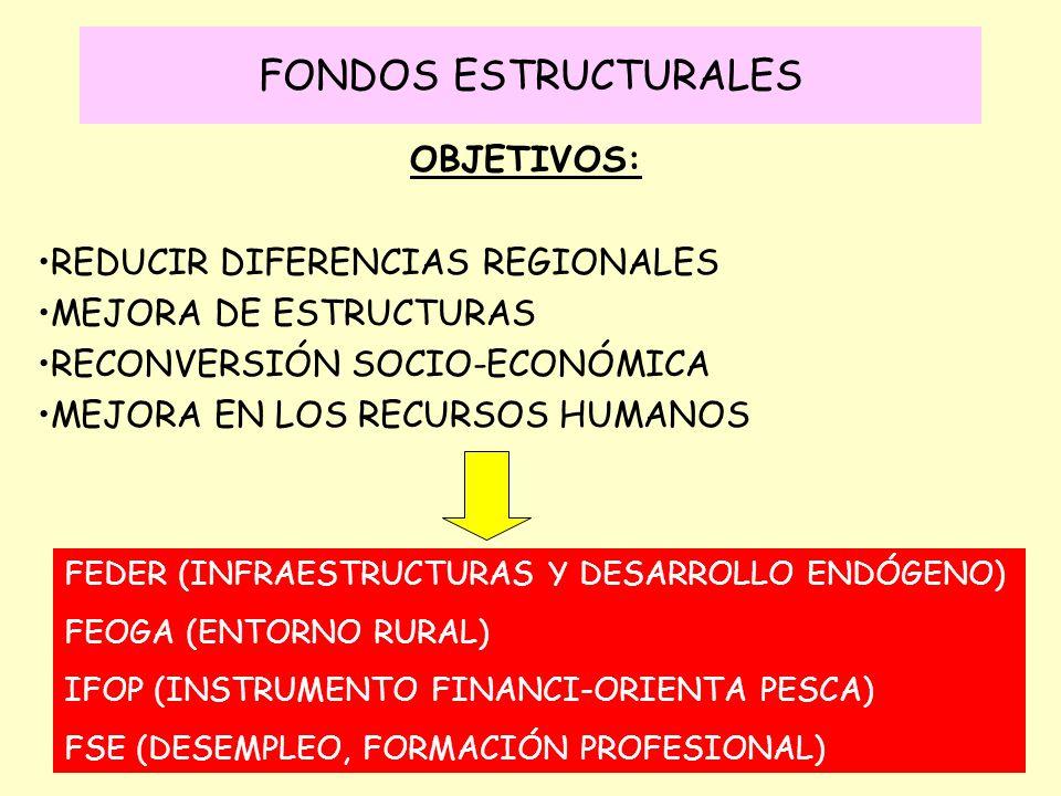 FONDOS ESTRUCTURALES OBJETIVOS: REDUCIR DIFERENCIAS REGIONALES