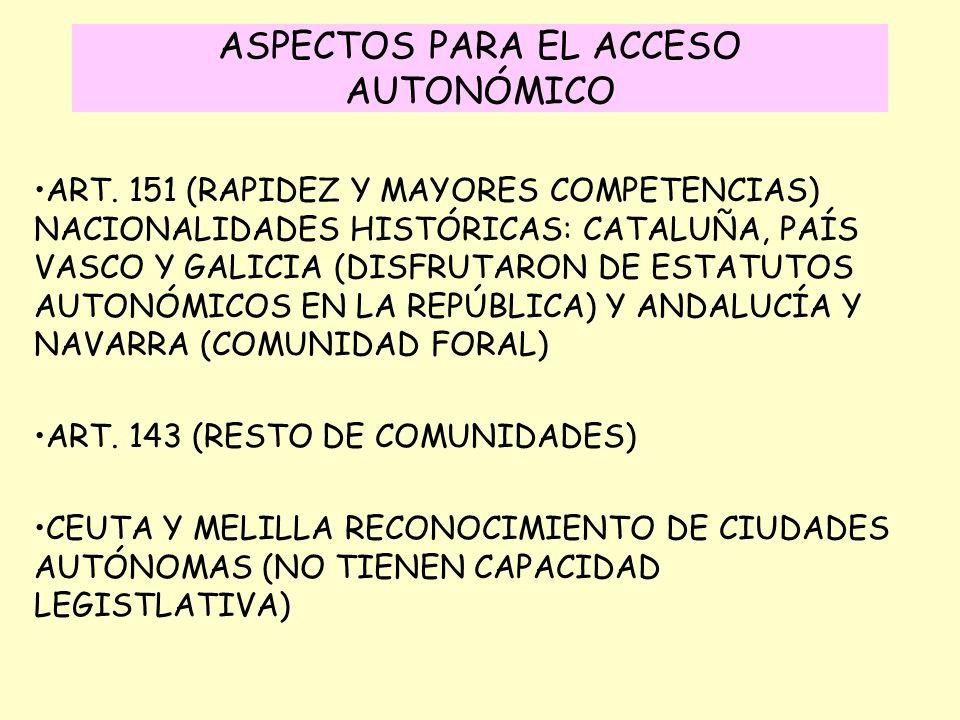 ASPECTOS PARA EL ACCESO AUTONÓMICO