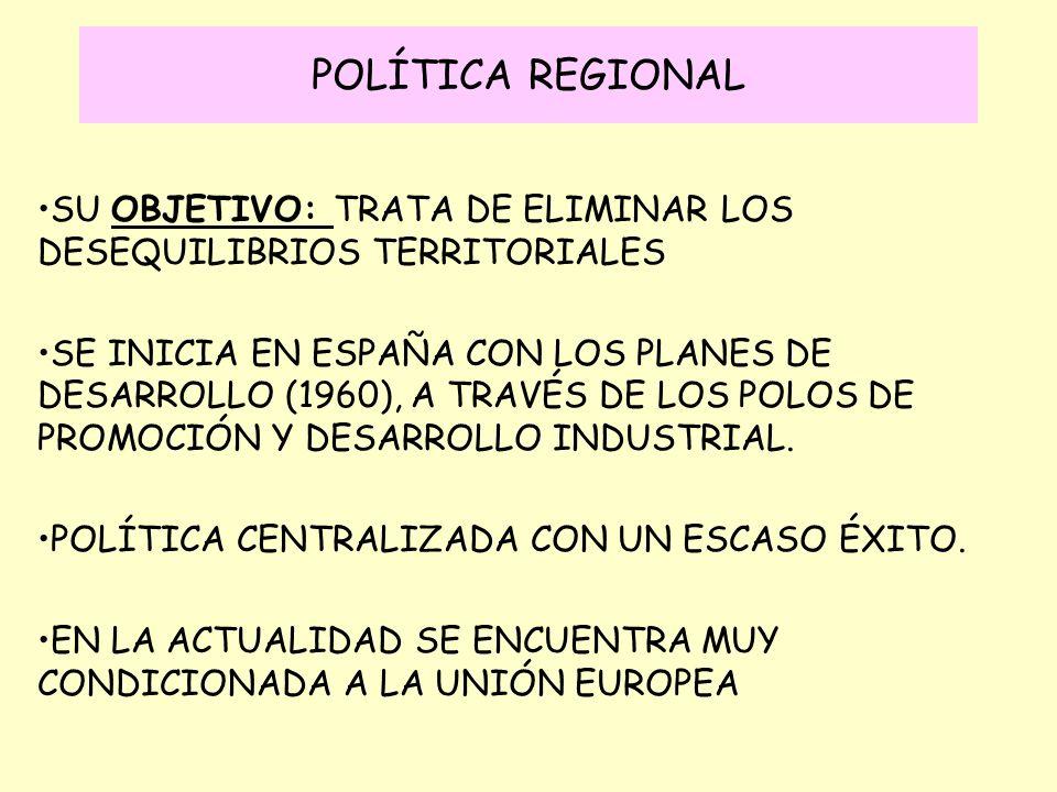 POLÍTICA REGIONAL SU OBJETIVO: TRATA DE ELIMINAR LOS DESEQUILIBRIOS TERRITORIALES.