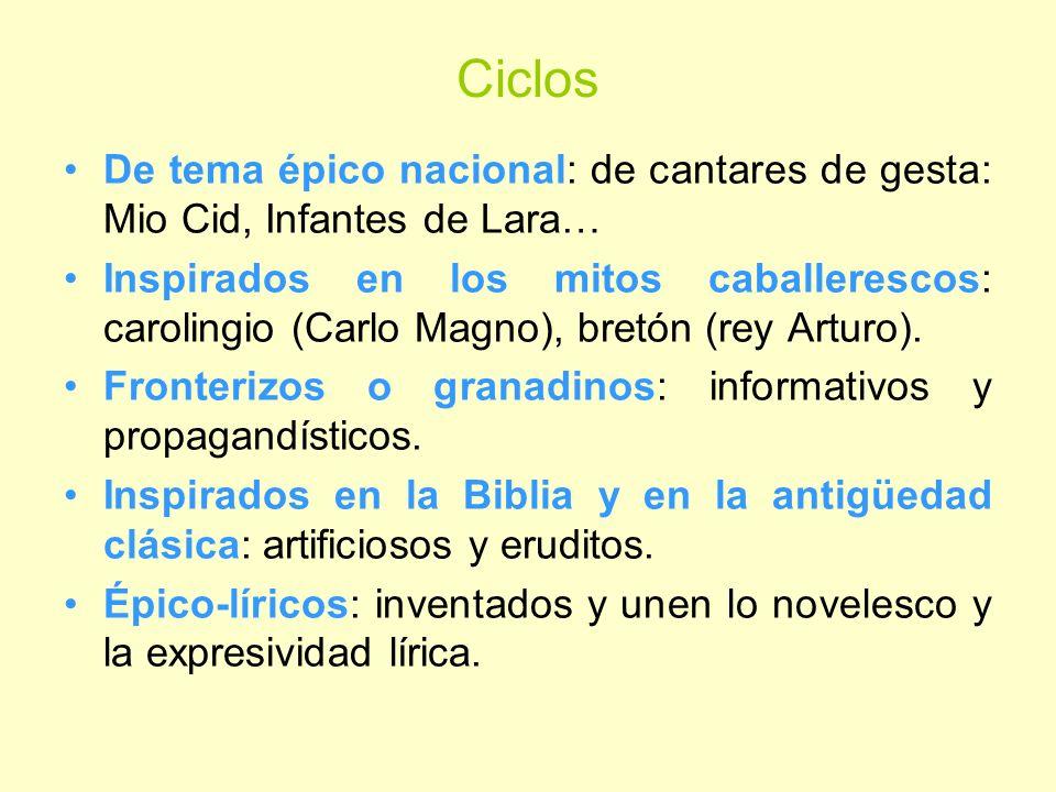 CiclosDe tema épico nacional: de cantares de gesta: Mio Cid, Infantes de Lara…