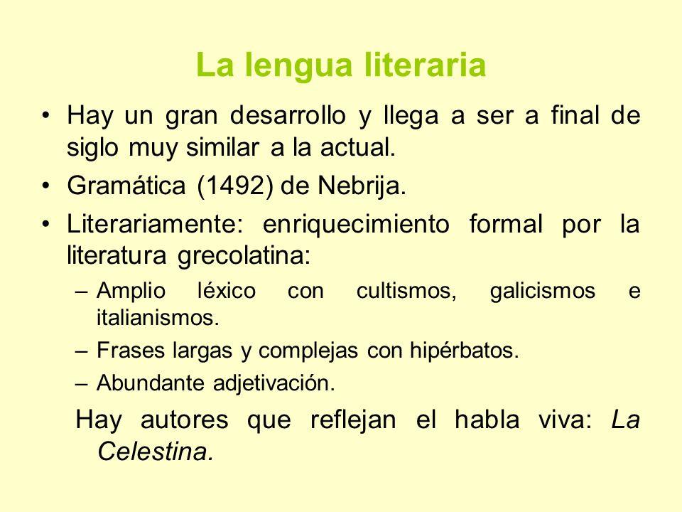 La lengua literaria Hay un gran desarrollo y llega a ser a final de siglo muy similar a la actual. Gramática (1492) de Nebrija.