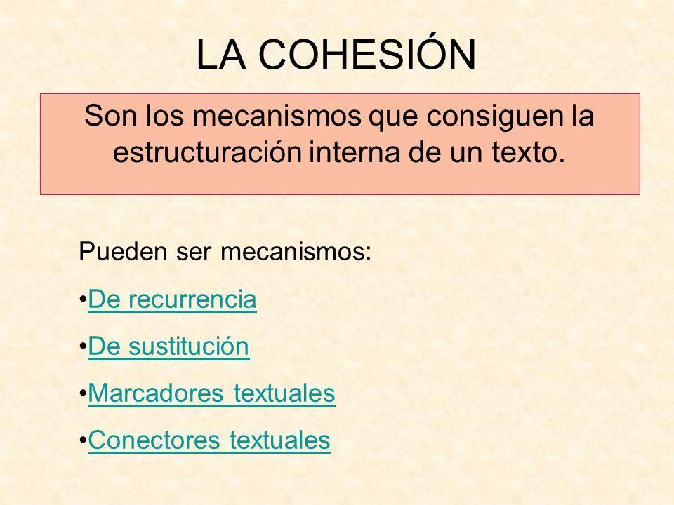 LA COHESIÓN Son los mecanismos que consiguen la estructuración interna de un texto. Pueden ser mecanismos: