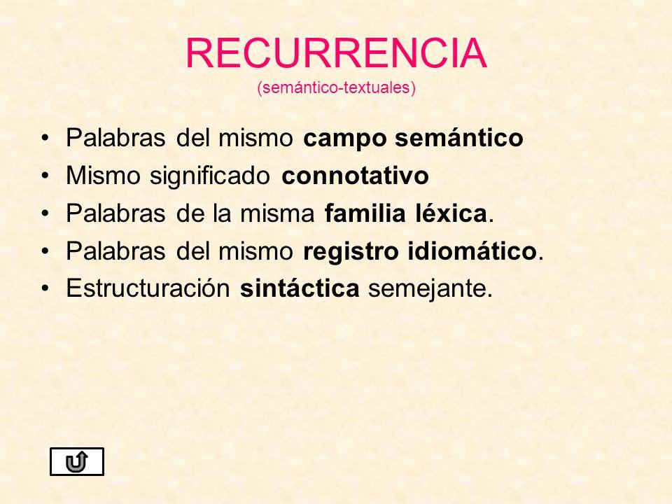 RECURRENCIA (semántico-textuales)