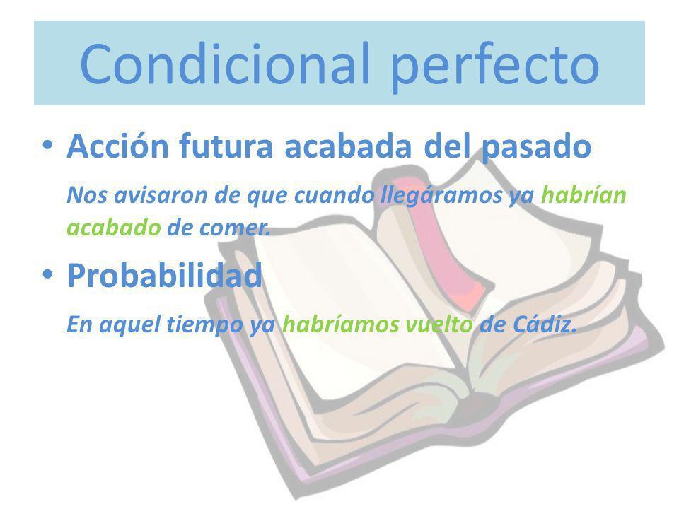Condicional perfecto Acción futura acabada del pasado Probabilidad