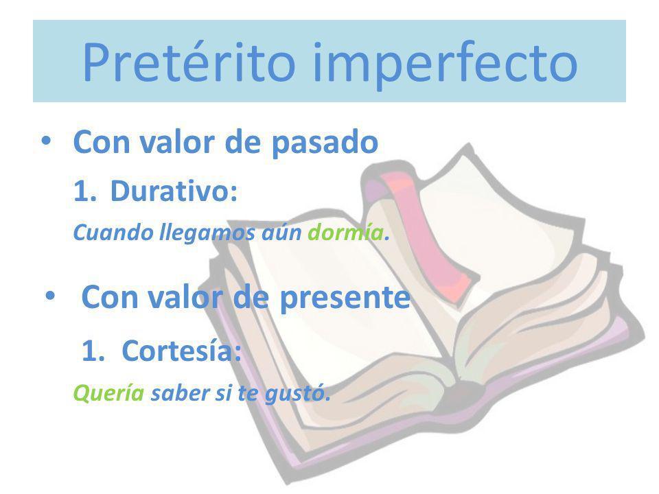 Pretérito imperfecto Con valor de pasado Con valor de presente
