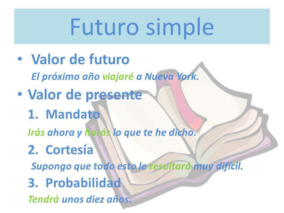 Futuro simple Valor de futuro Valor de presente 1. Mandato 2. Cortesía