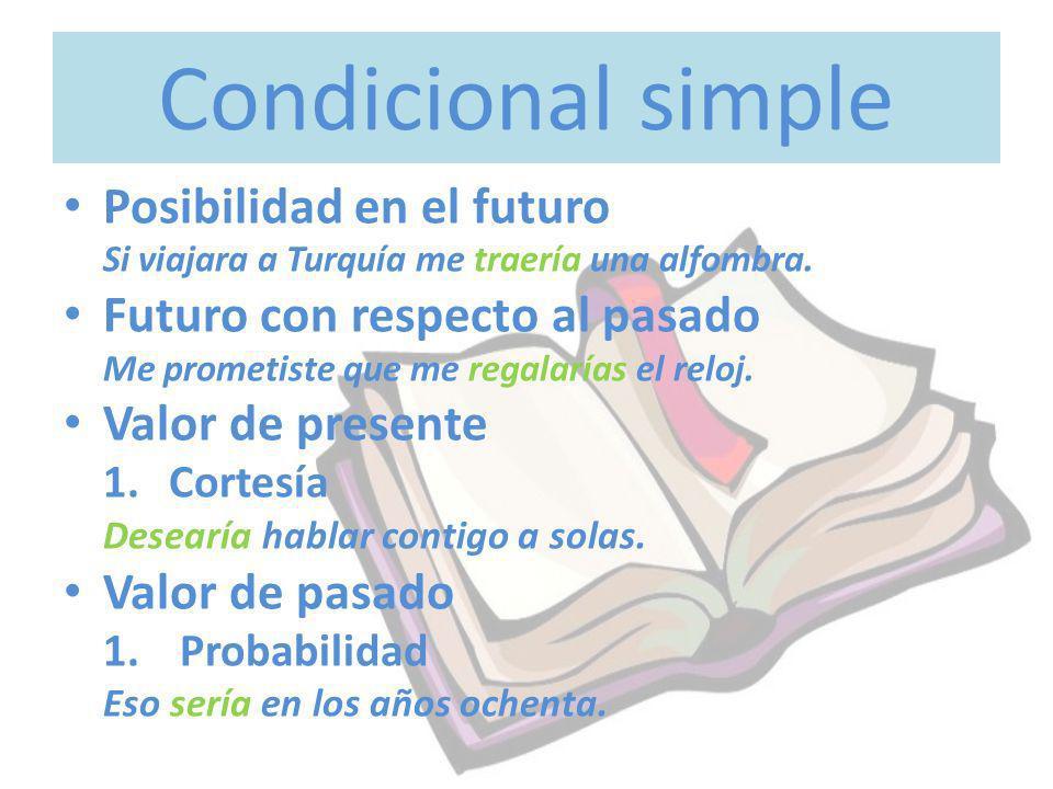 Condicional simple Posibilidad en el futuro