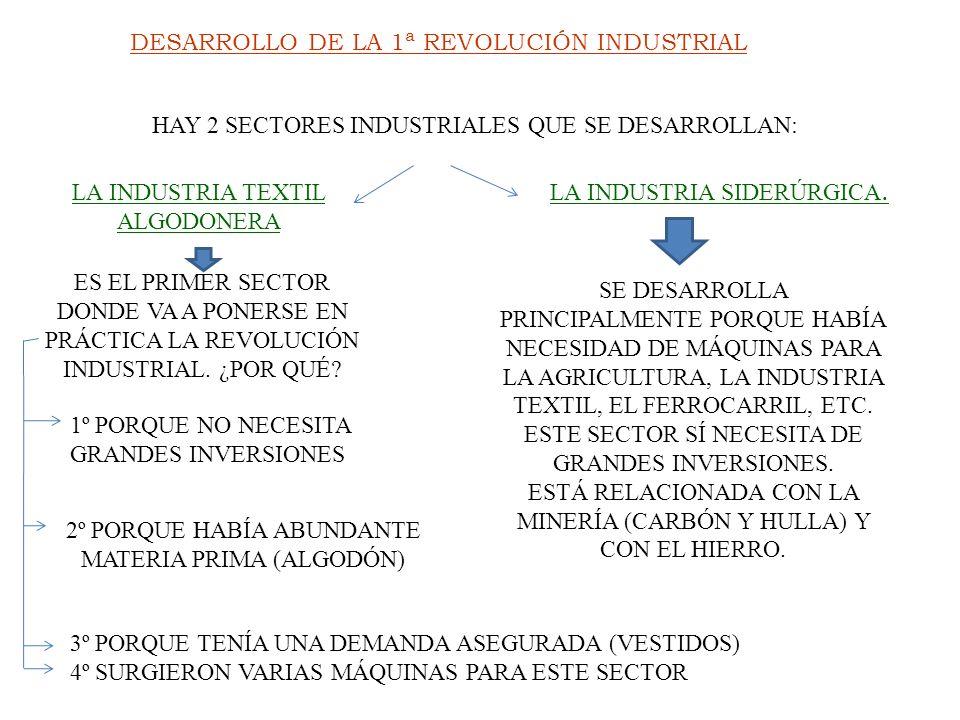 DESARROLLO DE LA 1ª REVOLUCIÓN INDUSTRIAL