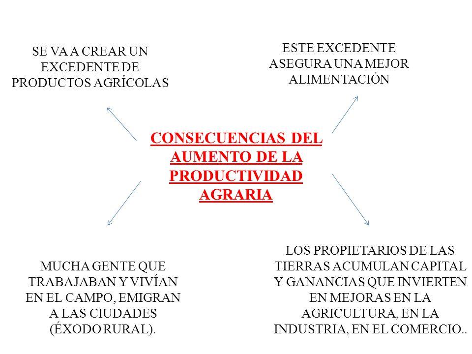CONSECUENCIAS DEL AUMENTO DE LA PRODUCTIVIDAD AGRARIA