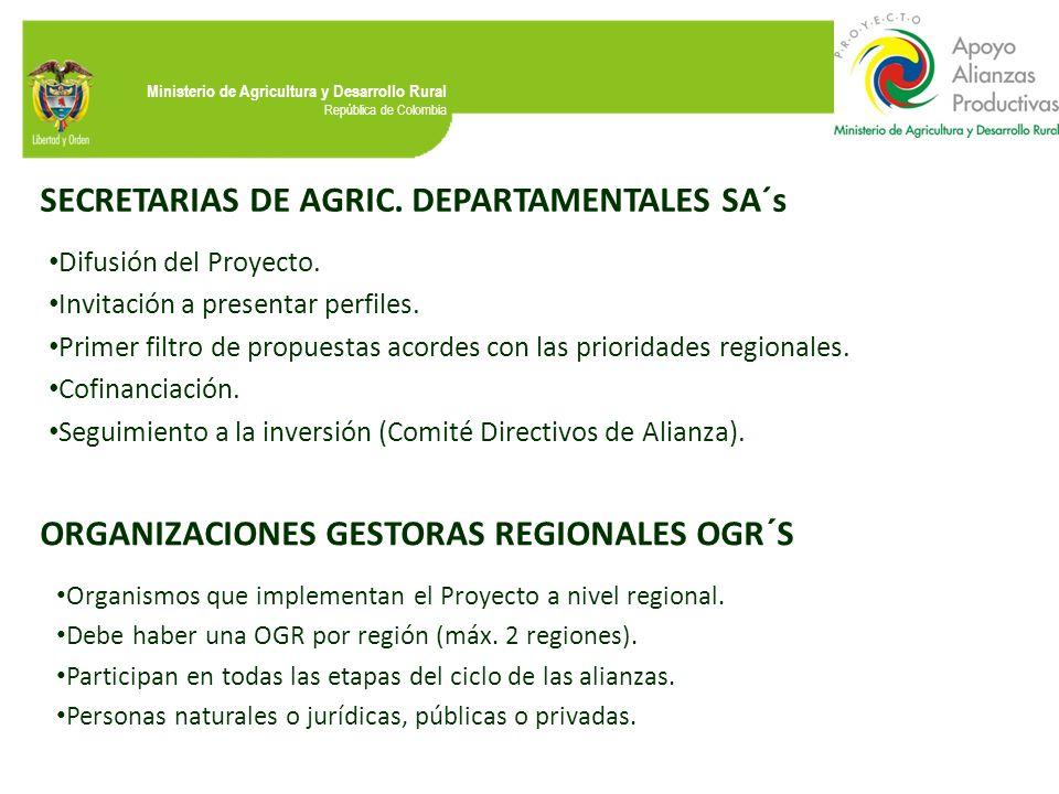 SECRETARIAS DE AGRIC. DEPARTAMENTALES SA´s